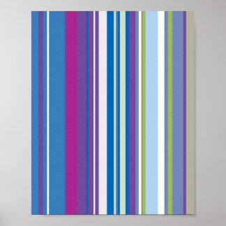 Lila blaue Streifen-Muster Poster