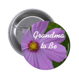 """Lila Blume """"Großmutter, zum Knopf zu sein"""" Runder Button 5,7 Cm"""