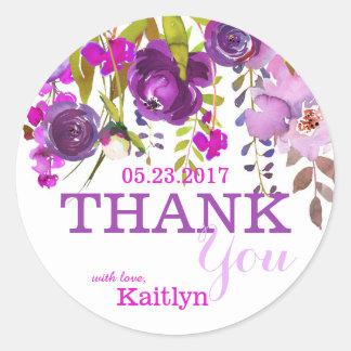 Lila Blumen BlumenWatercolor danken Ihnen Runder Aufkleber