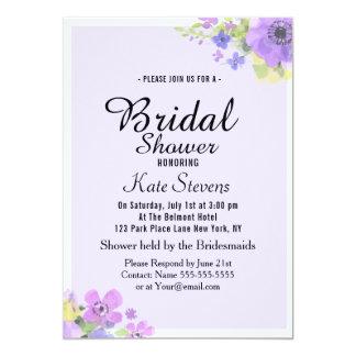 Lila Blumen-Brautparty-Einladung Karte