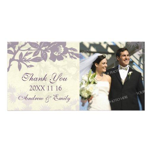Lila Blumen danken Ihnen Hochzeits-Foto-Karten Foto Karten Vorlage