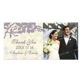 Lila Blumen danken Ihnen Hochzeits-Foto-Karten Photo Karte