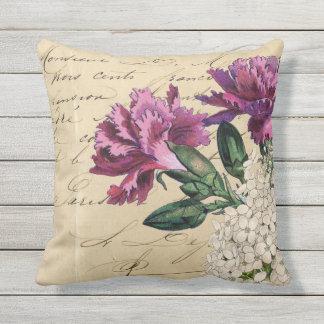 Lila Blumen-Eintagsfliegen Kissen Für Draußen