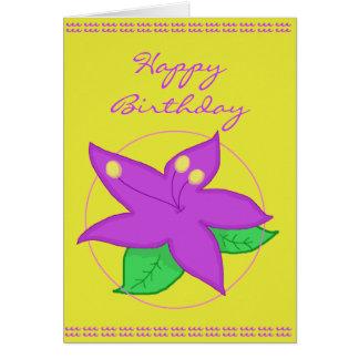 Lila Blumen-Geburtstags-Karte Karte