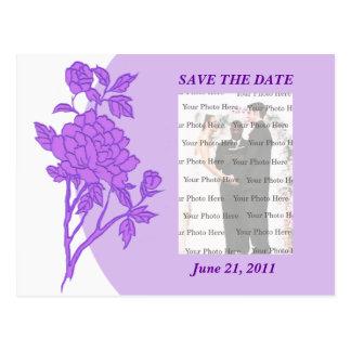 Lila Blumen-Gewohnheits-Save the Date Postkarte