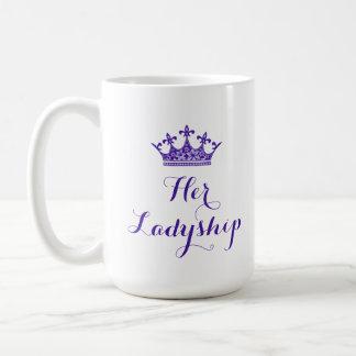 Lila Blumen-Krone ihr Ladyship-Skript Kaffeetasse
