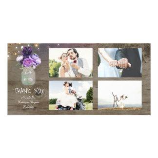Lila Blumen-Maurer-Glas-rustikale Hochzeit danken Karte