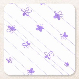 Lila Blumen-Muster-Untersetzer Rechteckiger Pappuntersetzer