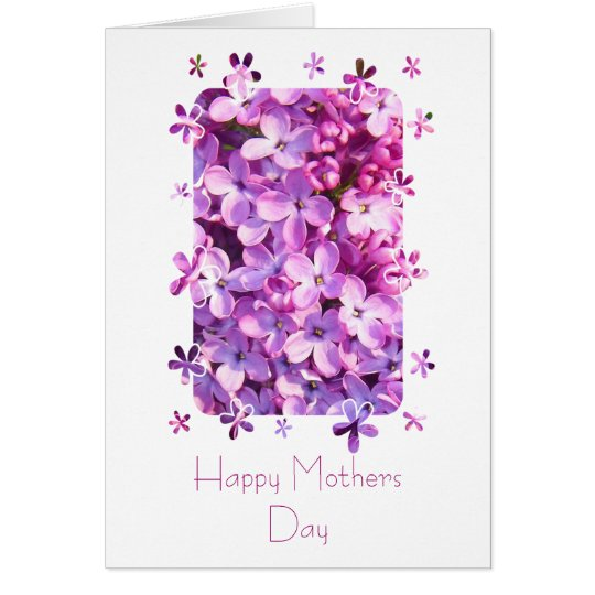 Lila Blumen-Mutter-Tageskarte Mitteilungskarte