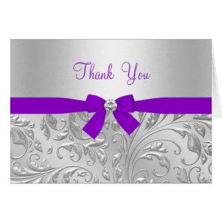 Lila Blumen- u. Bogen danken Ihnen zu kardieren Karte