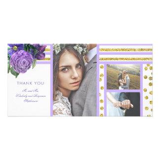 Lila Blumen und die Wedding Goldstreifen danken Karte