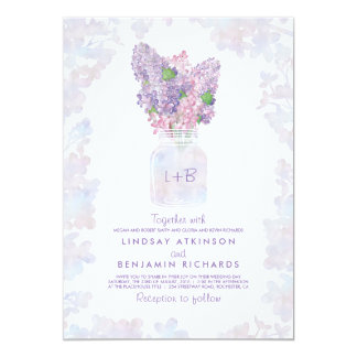 Lila BlumenAquarell-rustikale Hochzeit des Karte