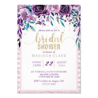 Lila Blumenchampagne-Brautparty-Einladung Karte