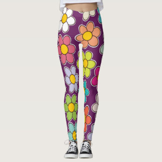 Lila Blumendruck Leggings