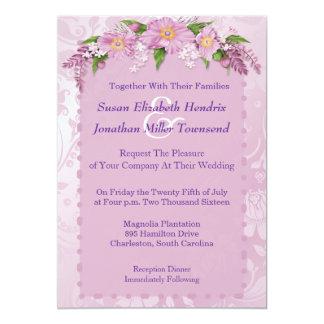 Lila Blumenhochzeits-Einladungen