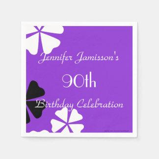 Lila Blumenpapierservietten, 90. Geburtstags-Party Papierservietten