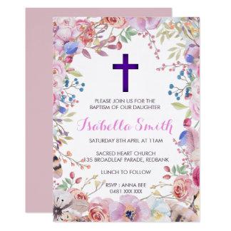 Lila Blumentaufe-/Christening-Einladungs-Mädchen 12,7 X 17,8 Cm Einladungskarte