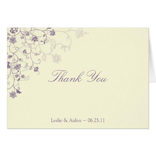 Lila BlumenWirbel auf Creme dankt Ihnen Karte