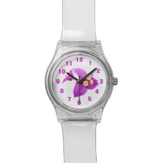 Lila Bouganvilla-Blume redigieren Zahlen Armbanduhr