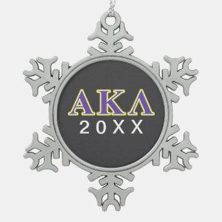 Lila Buchstaben Alphakappa-Lambdas Schneeflocken Zinn-Ornament