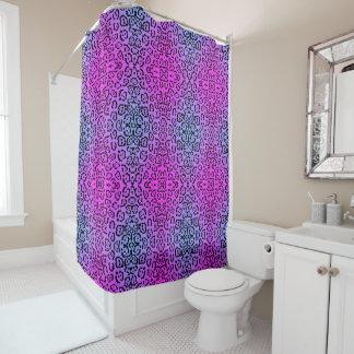 Lila Cheetah-Neonkatzen-Tierdruck Duschvorhang