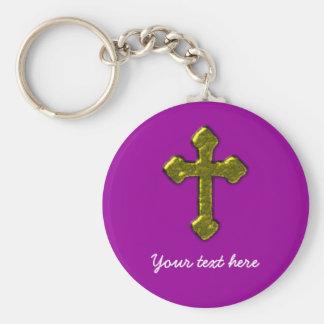 Lila christliches kundengerechtes schlüsselanhänger