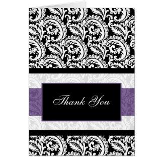 lila Damast danken Ihnen zu kardieren Grußkarten