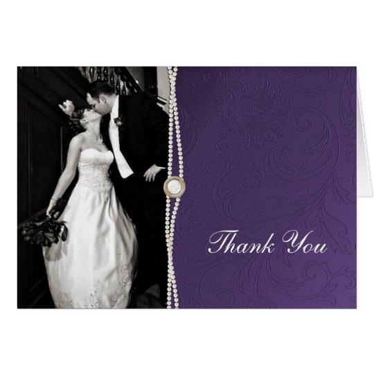 Lila Damast danken Ihnen zu kardieren Mitteilungskarte