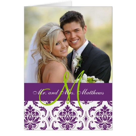 Lila Damast-Hochzeits-Foto danken Ihnen zu Karte