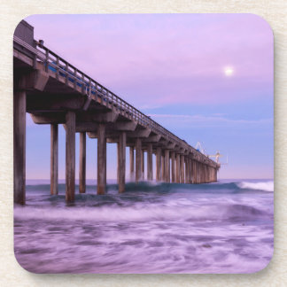 Lila Dämmerung über Pier, Kalifornien Untersetzer