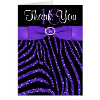 Lila das DRUCKband, schwarzer Zebra danken Ihnen Karte