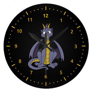 Lila Drache-Cartoon Wand-Uhr Große Wanduhr