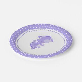 Lila Drache-Geburtstags-Baby-Duschen-Papier-Teller Pappteller