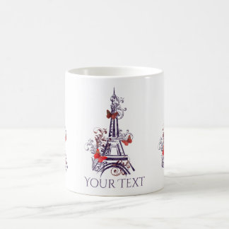 Lila Eiffel-Turm-Schmetterlings-Tasse Kaffeetasse