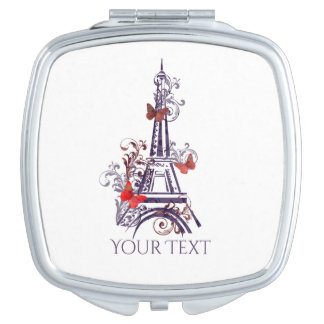 Lila Eiffel-Turm-Schmetterlingsspiegel Taschenspiegel