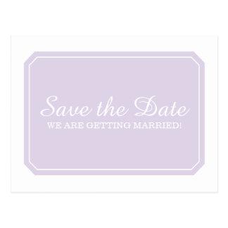 Lila einfach elegante Save the Date Postkarte