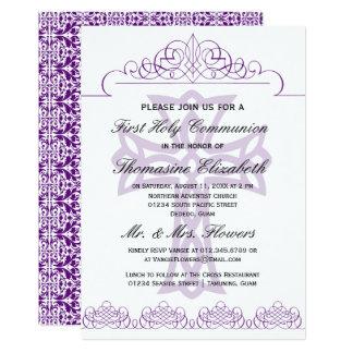 Lila erste heilige Kommunions-Kreuz-Einladungen 12,7 X 17,8 Cm Einladungskarte