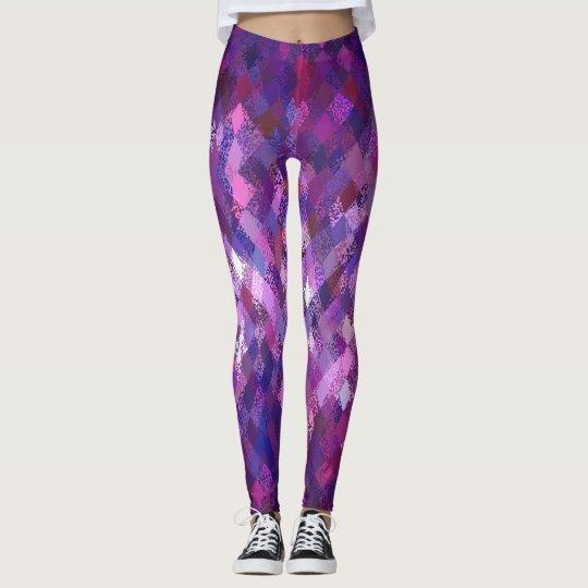 Lila Farbe-Mischung Harlekin-Muster-Gamaschen Leggings