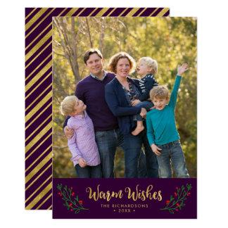 Lila festliches Laub-warmes Wunsch-Feiertags-Foto 12,7 X 17,8 Cm Einladungskarte