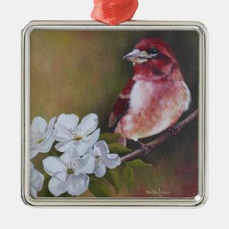 Lila Fink-Vogel-Malerei-Weihnachtsverzierung Silbernes Ornament