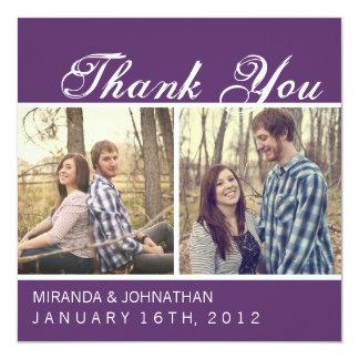 Lila Foto-Hochzeit danken Ihnen Karten Quadratische 13,3 Cm Einladungskarte