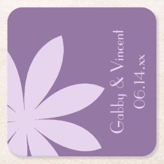 Lila Gänseblümchen-Hochzeit Kartonuntersetzer Quadrat