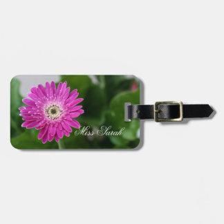 Lila Gänseblümchen personalisiert Kofferanhänger