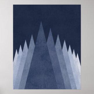 Lila Gebirgsmoderne minimale geometrische Kunst Poster