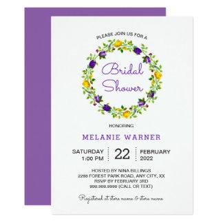Lila gelbes Blumenwreath-Brautparty laden ein Karte