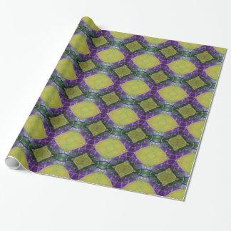 Lila gelbes Fliesen-Muster Geschenkpapier