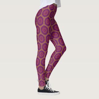 Lila geometrisches Strudel-Muster Leggings