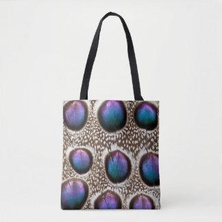 Lila gepunktete Pfau-Fasan-Federn Tasche