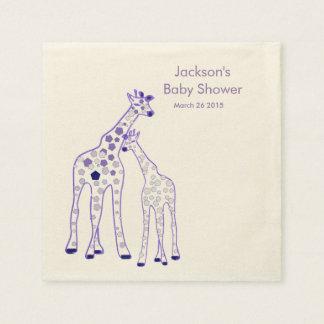 lila Giraffen - Babydusche Serviette