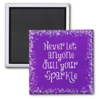 Lila Girly Inspirational Schein-Zitat Quadratischer Magnet